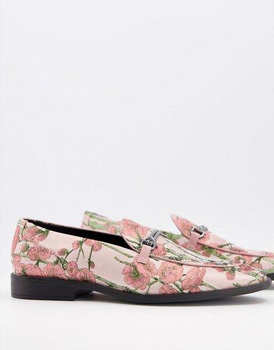 Scarpa elegante Rosa uomo Mocassini a fiori multi con morso - ASOS DESIGN - Rosa