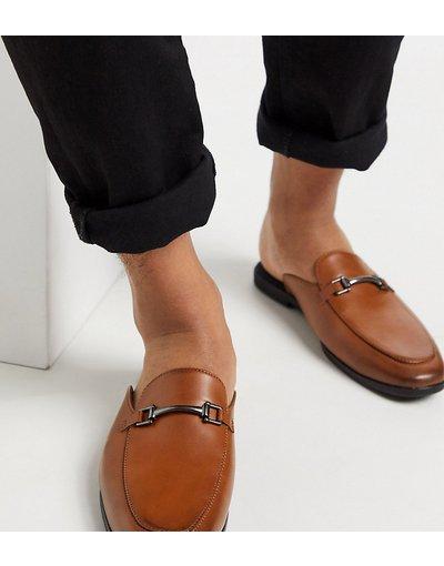 Scarpa elegante Cuoio uomo Mocassini a pianta larga aperti dietro in ecopelle color cuoio - ASOS DESIGN