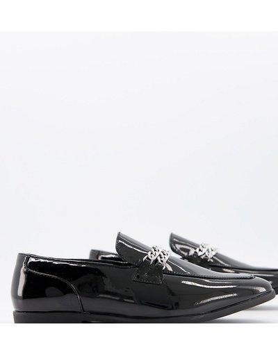 Scarpa elegante Nero uomo Mocassini a pianta larga con doppia catena argento in vernice nera - ASOS DESIGN - Nero