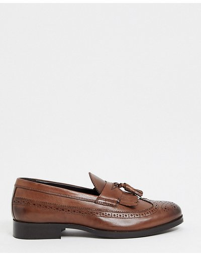 Scarpa elegante Marrone uomo Mocassini a pianta larga in pelle lucida marrone con dettagli brogue - ASOS DESIGN