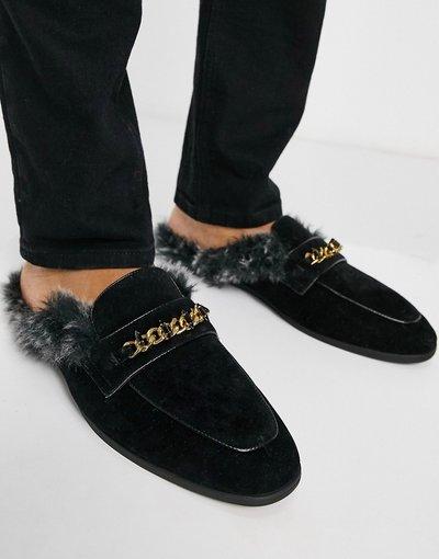 Scarpa elegante Nero uomo Mocassini a sabot aperti dietro in velluto nero con soletta in pelliccia sintetica e dettaglio in metallo - ASOS DESIGN