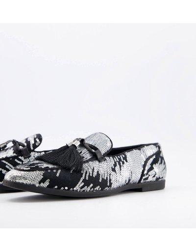 Scarpa elegante Argento uomo Mocassini argento effetto fuochi d'artificio con nappe oversize - ASOS DESIGN moda abbigliamento