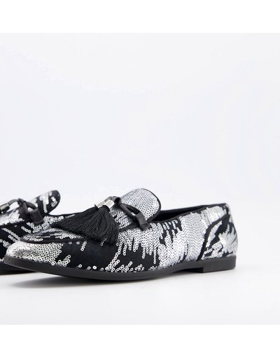 Scarpa elegante Argento uomo Mocassini argento effetto fuochi d'artificio con nappe oversize - ASOS DESIGN