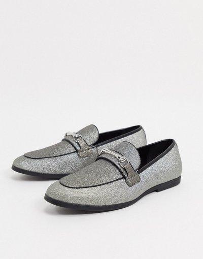 Scarpa elegante Argento uomo Mocassini argento glitter con morsetto - ASOS DESIGN moda abbigliamento