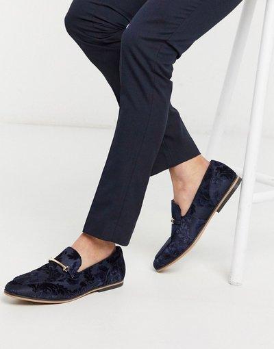 Scarpa elegante Navy uomo Mocassini blu navy con motivo dévoré a fiori e morsetto - ASOS DESIGN