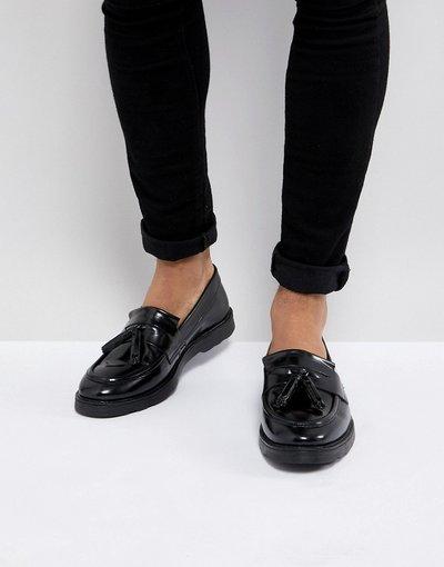 Scarpa elegante Nero uomo Mocassini con nappe in pelle neri - ASOS DESIGN - Nero moda abbigliamento