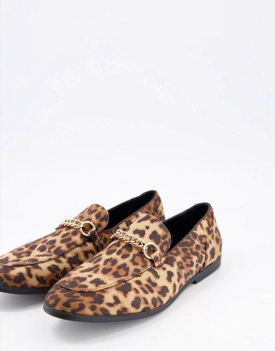 Scarpa elegante Marrone uomo Mocassini con stampa marrone leopardata e morsetto - ASOS DESIGN