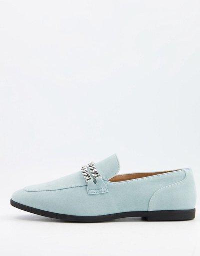 Scarpa elegante Blu uomo Mocassini in camoscio sintetico blu con doppia catena argento - ASOS DESIGN