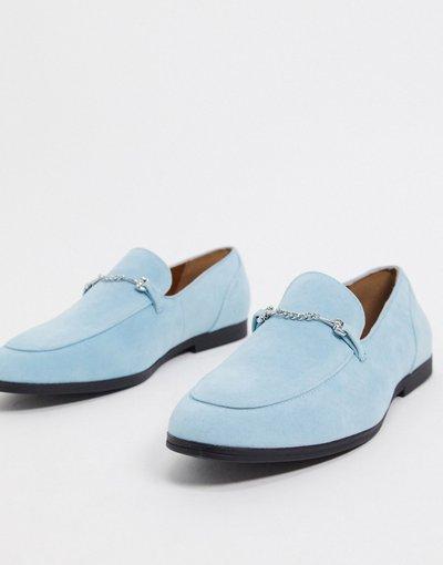 Scarpa elegante Blu uomo Mocassini in camoscio sintetico blu con morsetto - ASOS DESIGN