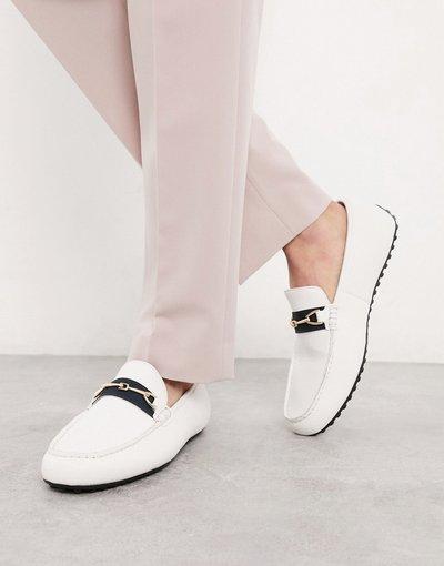 Scarpa elegante Bianco uomo Mocassini in ecopelle bianca con fascia - ASOS DESIGN - Bianco