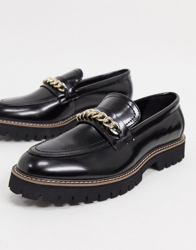 Scarpa elegante Nero uomo Mocassini in ecopelle con suola spessa e catena neri - ASOS DESIGN - Nero