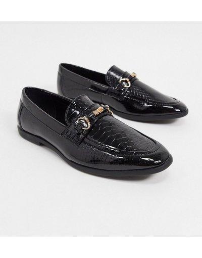Scarpa elegante Nero uomo Mocassini in ecopelle nero pitonato - ASOS DESIGN