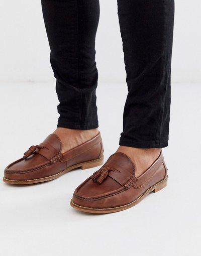 Scarpa elegante Cuoio uomo Mocassini in pelle color cuoio con nappe e suola naturale - ASOS DESIGN