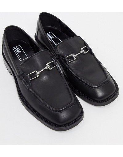 Scarpa elegante Nero uomo Mocassini in pelle nera con punta squadrata e dettaglio con morsetto - ASOS DESIGN - Nero
