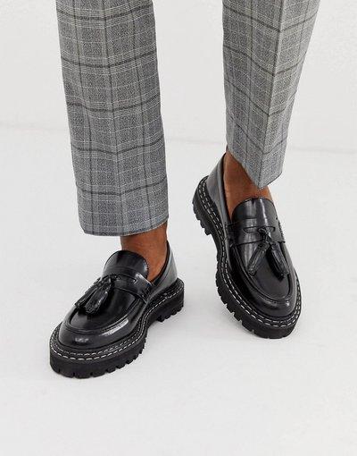 Scarpa elegante Nero uomo Mocassini in pelle nera con suola spessa e impunture a contrasto - ASOS DESIGN - Nero
