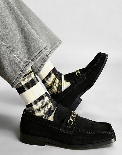 Scarpa elegante Nero uomo Mocassini in pelle scamosciata con punta squadrata e dettaglio con catena, colore nero - ASOS DESIGN