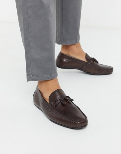 Scarpa elegante Marrone uomo Mocassini marroni in morbida pelle - ASOS DESIGN - Marrone