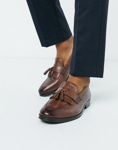 Scarpa elegante Marrone uomo Mocassini marroni in pelle con nappe e frange - ASOS DESIGN - Marrone