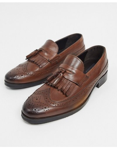 Scarpa elegante Marrone uomo Mocassini marroni in pelle lucida con dettagli stile brogue - ASOS DESIGN - Marrone