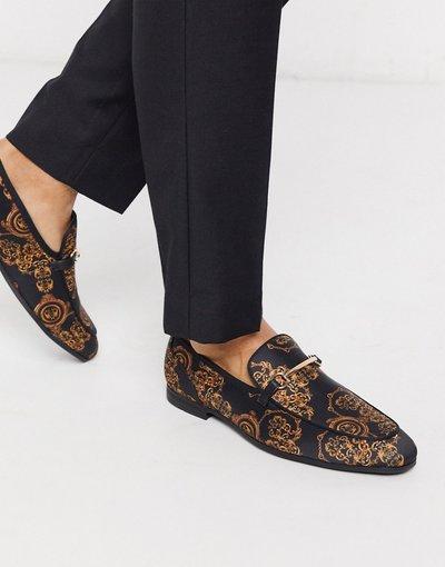 Scarpa elegante Multicolore uomo Mocassini neri con stampa barocca - ASOS DESIGN - Multicolore