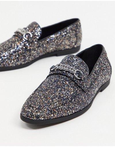 Scarpa elegante Argento uomo Mocassini neri glitterati con morsetto - ASOS DESIGN - Argento