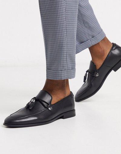Scarpa elegante Nero uomo Mocassini neri in pelle sintetica con nappe - ASOS DESIGN - Nero