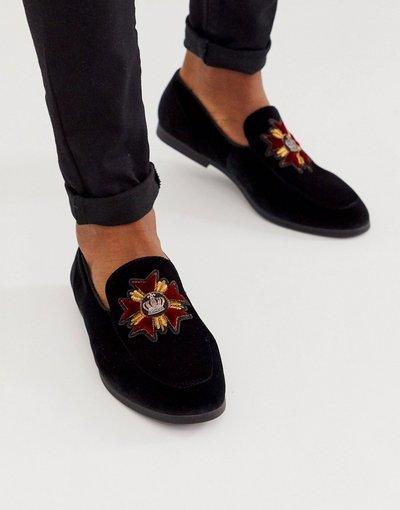 Scarpa elegante Nero uomo Mocassini neri in velluto con stemma - ASOS DESIGN - Nero