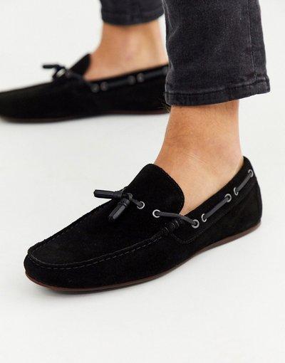 Scarpa elegante Nero uomo Mocassini nero scamosciato con lacci - ASOS DESIGN