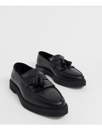 Stivali Nero uomo Mocassini pianta larga in pelle nera con suola creeper - ASOS DESIGN - Nero