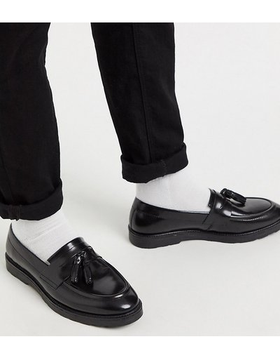 Scarpa elegante Nero uomo Mocassini pianta larga neri in pelle con nappe - ASOS DESIGN - Nero