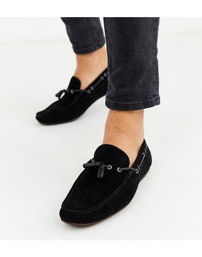 Scarpa elegante Nero uomo Mocassini pianta larga nero scamosciato con laccetti - ASOS DESIGN