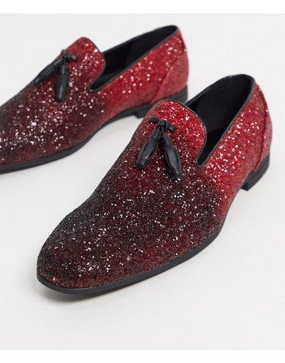 Scarpa elegante Rosso uomo Mocassini rosso ombreggiato con glitter e nappe - ASOS DESIGN