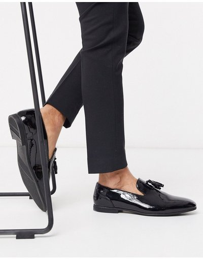 Scarpa elegante Nero uomo friendly in vernice nera con nappe - Mocassini vegan - ASOS DESIGN - Nero