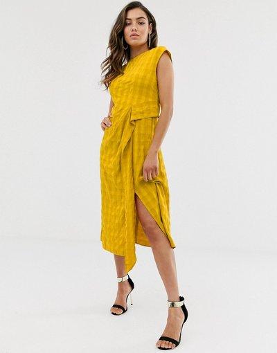 Eleganti longuette Giallo donna Moderno vestito midi operato senza maniche con drappeggio - ASOS DESIGN - Giallo