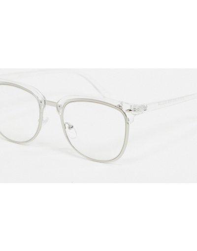 Occhiali Trasparente uomo Occhiali a rettangolo con lenti e dettagli trasparenti - ASOS DESIGN - Trasparente