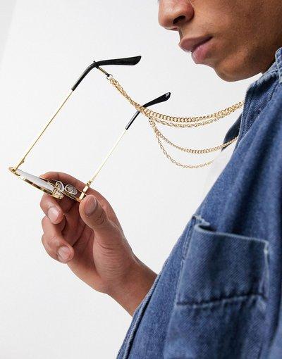 Occhiali Oro uomo Occhiali da sole a doppio strato con catena oro - ASOS DESIGN