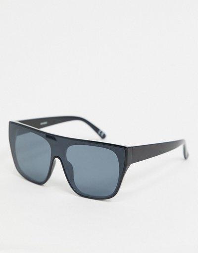 Occhiali Nero uomo Occhiali da sole a mascherina in plastica nera con barretta piatta e lenti fumé - ASOS DESIGN - Nero