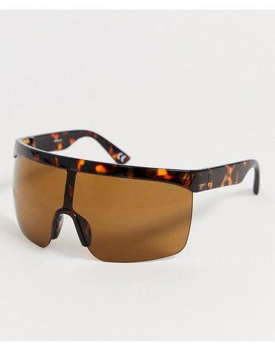 Occhiali Marrone uomo Occhiali da sole a mascherina tartarugati con lenti marroni - ASOS DESIGN - Marrone