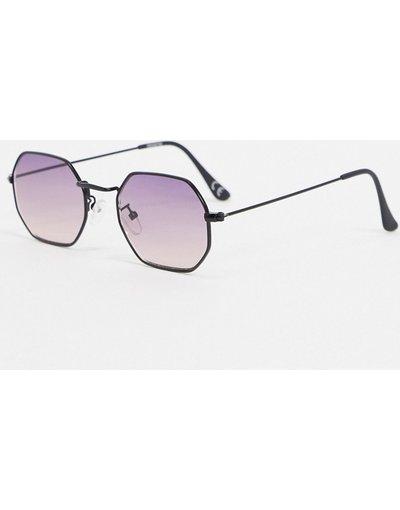 Occhiali Viola uomo Occhiali da sole angolari nero opaco con lenti sfumate viola - ASOS DESIGN