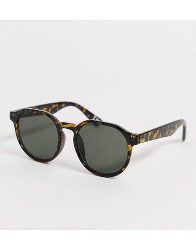 Occhiali Verde uomo Occhiali da sole anni'70 rotondi tartarugati con lenti sfumate - ASOS DESIGN - Verde