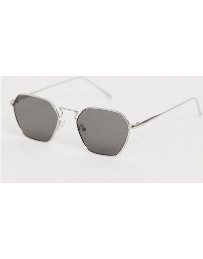 Occhiali Argento uomo Occhiali da sole con angoli in metallo argento con lenti sfumate - ASOS DESIGN