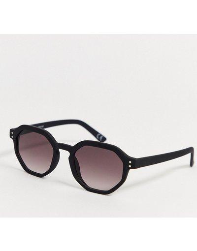 Occhiali Nero uomo Occhiali da sole con angoli in plastica nero opaco con lenti sfumate - ASOS DESIGN