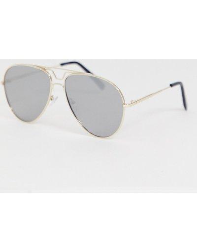 Occhiali Oro uomo Occhiali da sole modello aviatore con montatura oro e lenti a specchio sfumate - ASOS DESIGN