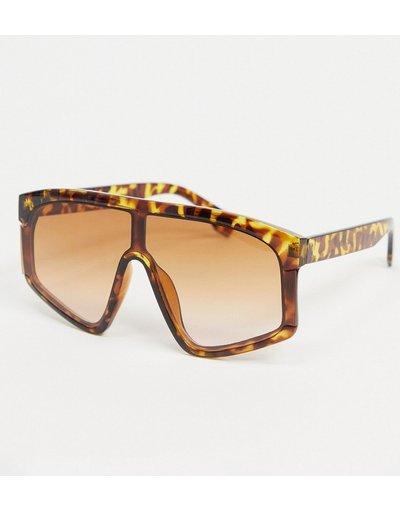 Occhiali Marrone uomo Occhiali da sole oversize con ponte piatto marrone tartarugato - ASOS DESIGN