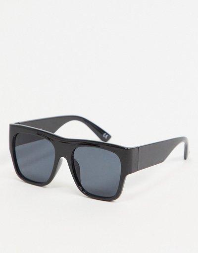 Occhiali Nero uomo Occhiali da sole squadrati anni'70 in plastica nera con lenti sfumate nere - ASOS DESIGN - Nero