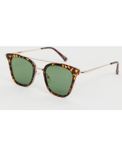 Occhiali Marrone uomo Occhiali da sole rétro con montatura tartarugata con dettagli oro e lenti verdi - ASOS DESIGN - Marrone