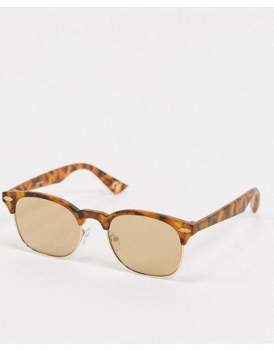 Occhiali Marrone uomo Occhiali da sole rétro in metallo oro con montatura tartarugata - ASOS DESIGN - Marrone