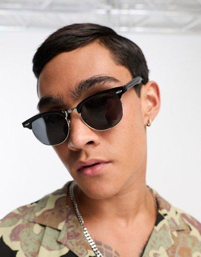 Occhiali Nero uomo Occhiali da sole rétro neri con lenti sfumate - ASOS DESIGN - Nero
