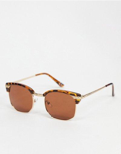 Occhiali Marrone uomo Occhiali da sole rétro stile anni'90, tartarugati, con dettagli in metallo e lenti marroni - ASOS DESIGN - Marrone