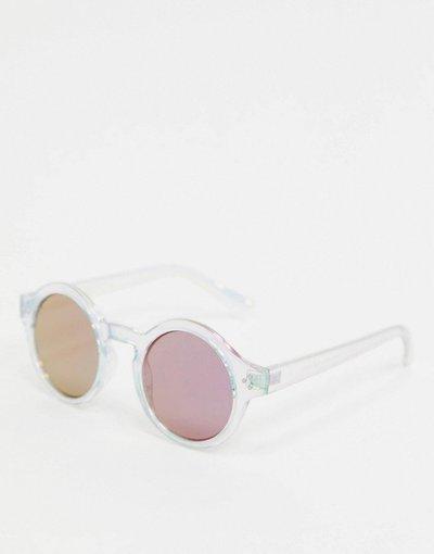 Occhiali Azzera uomo Occhiali da sole rotondi con montatura iridescente trasparente e lenti a specchio viola - ASOS DESIGN - Azzera